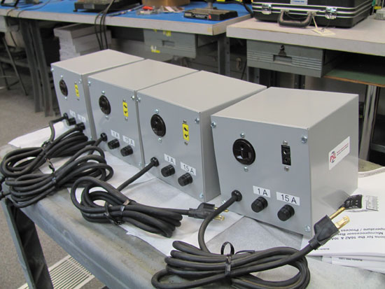 Picture of the back of four heat controllers.